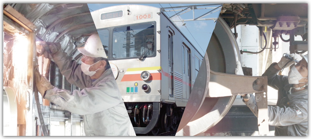 鉄道部品である仮台車やラダー枕木運搬車、スカートなど、鉄道車両関連の製品一覧